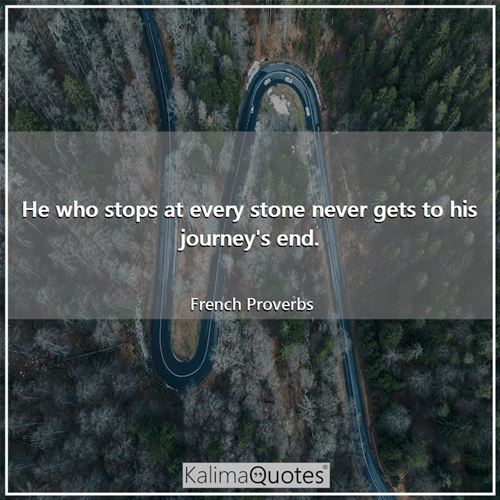 He who stops at every stone never gets to his journey's end.