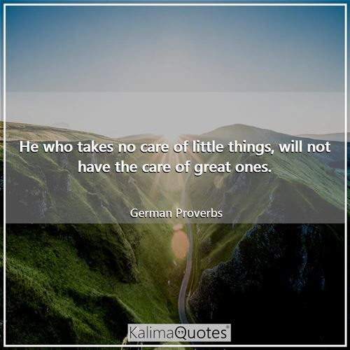 He who takes no care of little things, will not have the care of great ones. - German Proverbs