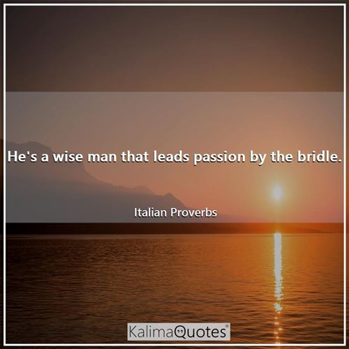 He's a wise man that leads passion by the bridle.