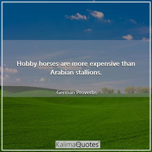 Hobby horses are more expensive than Arabian stallions.