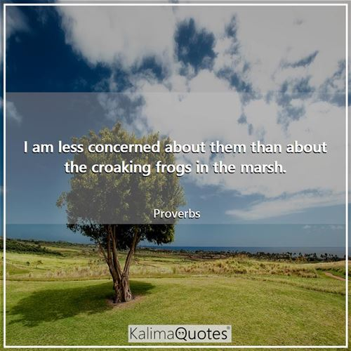 I am less concerned about them than about the croaking frogs in the marsh.
