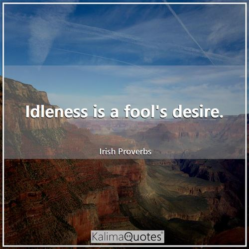 Idleness is a fool's desire.