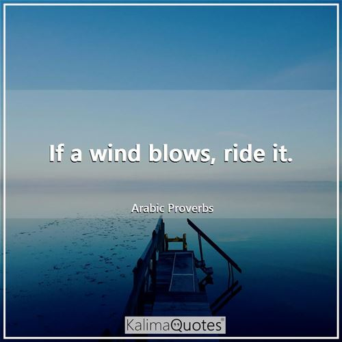If a wind blows, ride it.
