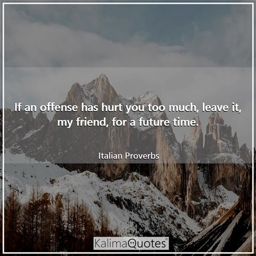 If an offense has hurt you too much, leave it, my friend, for a future time. - Italian Proverbs