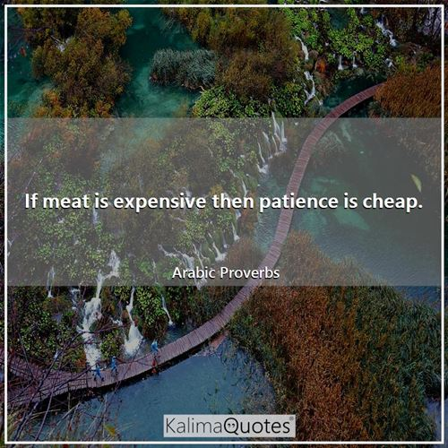 If meat is expensive then patience is cheap.