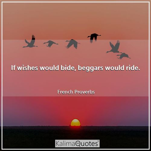 If wishes would bide, beggars would ride.