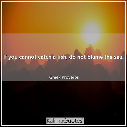 If you cannot catch a fish, do not blame the sea.