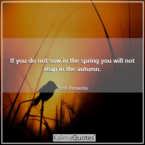 If you do not sow in the spring you will not reap in the autumn.