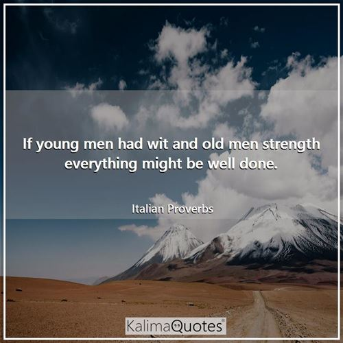If young men had wit and old men strength everything might be well done.