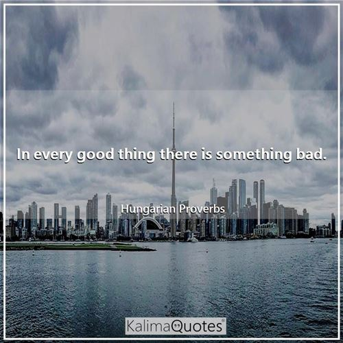 In every good thing there is something bad.