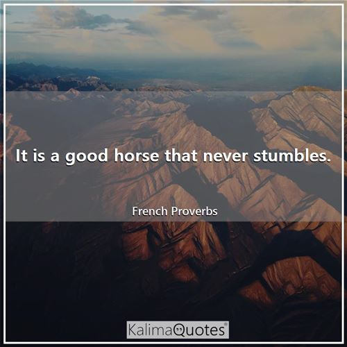 It is a good horse that never stumbles.