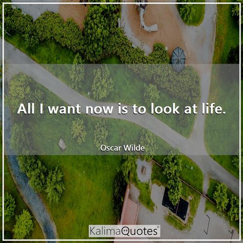 All I want now is to look at life. - Oscar Wilde