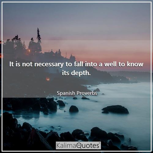 It is not necessary to fall into a well to know its depth.