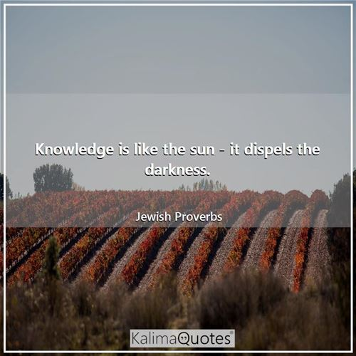 Knowledge is like the sun - it dispels the darkness.