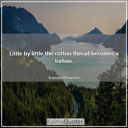 Little by little the cotton thread becomes a turban.