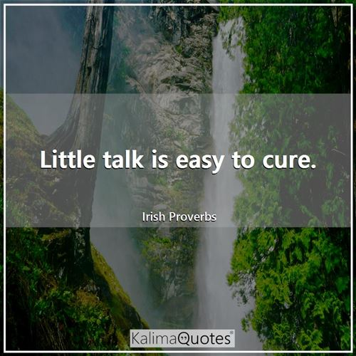 Little talk is easy to cure.