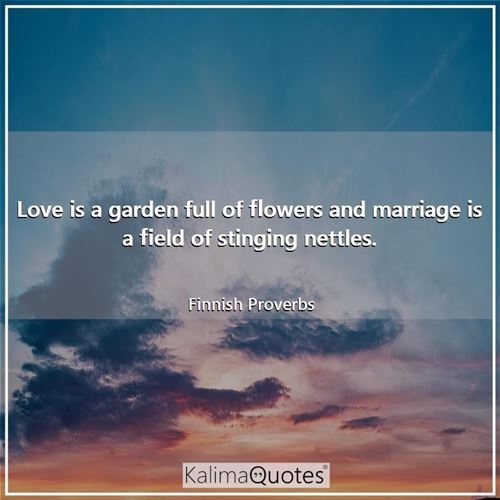 Love is a garden full of flowers and marriage is a field of stinging nettles.