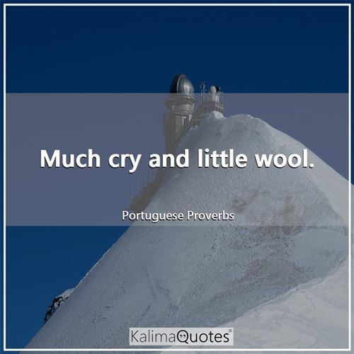 Much cry and little wool.