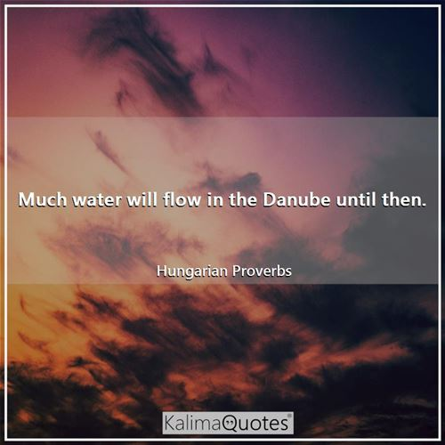 Much water will flow in the Danube until then. - Hungarian Proverbs