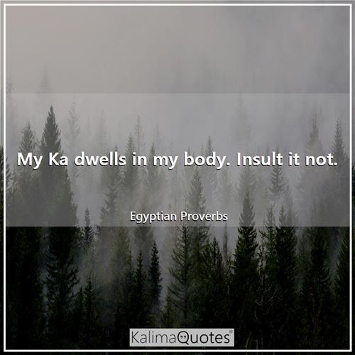 My Ka dwells in my body. Insult it not. - Egyptian Proverbs