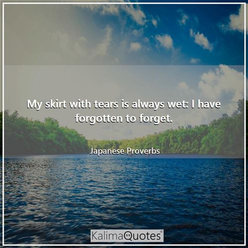 My skirt with tears is always wet: I have forgotten to forget. - Japanese Proverbs