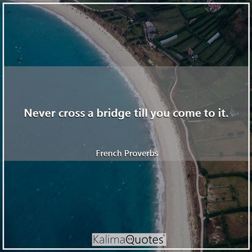 Never cross a bridge till you come to it. - French Proverbs