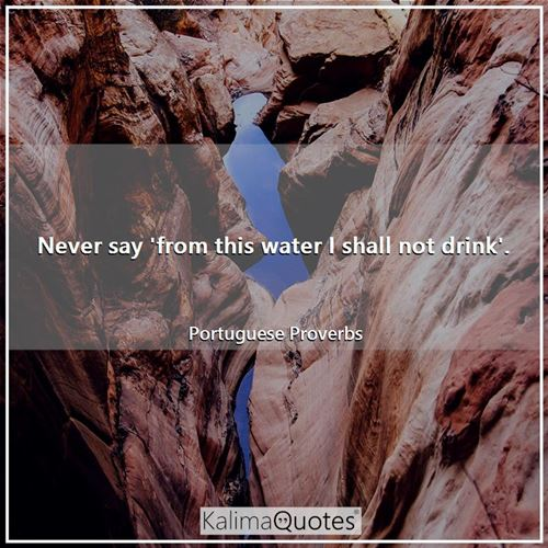 Never say 'from this water I shall not drink'. - Portuguese Proverbs