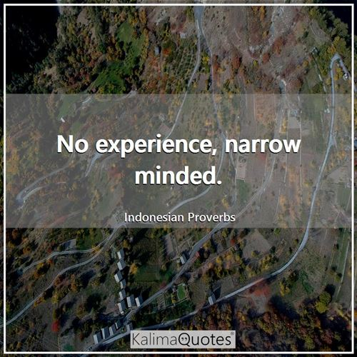 No experience, narrow minded.