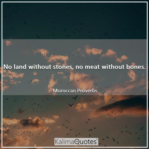 No land without stones, no meat without bones. - Moroccan Proverbs