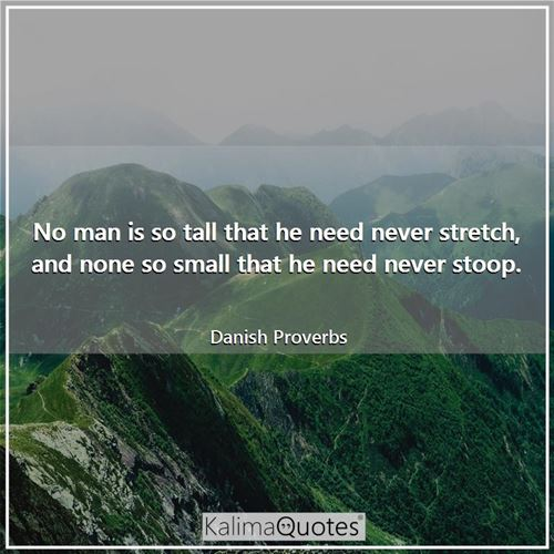 No man is so tall that he need never stretch, and none so small that he need never stoop. - Danish Proverbs
