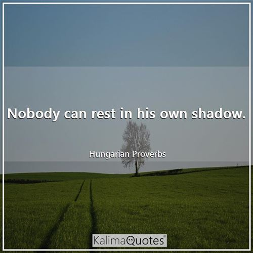 Nobody can rest in his own shadow.