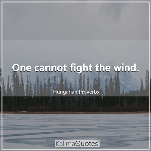 One cannot fight the wind. - Hungarian Proverbs
