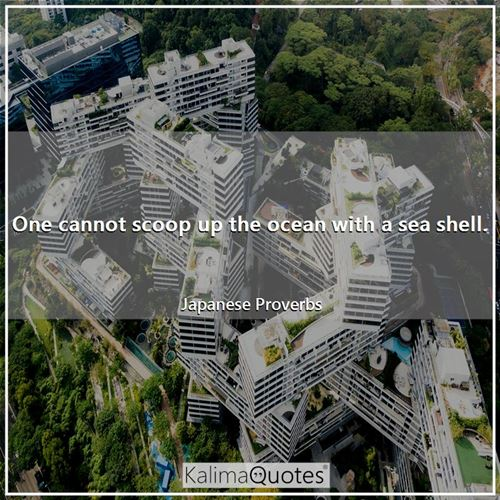 One cannot scoop up the ocean with a sea shell.