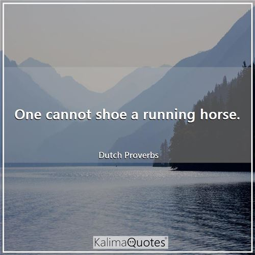 One cannot shoe a running horse. - Dutch Proverbs