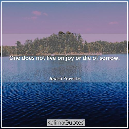 One does not live on joy or die of sorrow.