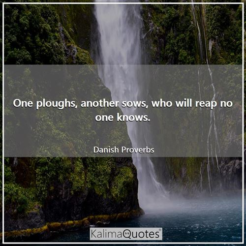 One ploughs, another sows, who will reap no one knows. - Danish Proverbs