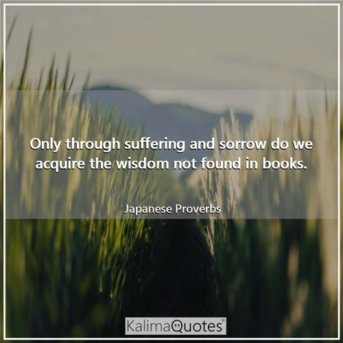 Only through suffering and sorrow do we acquire the wisdom not found in books.