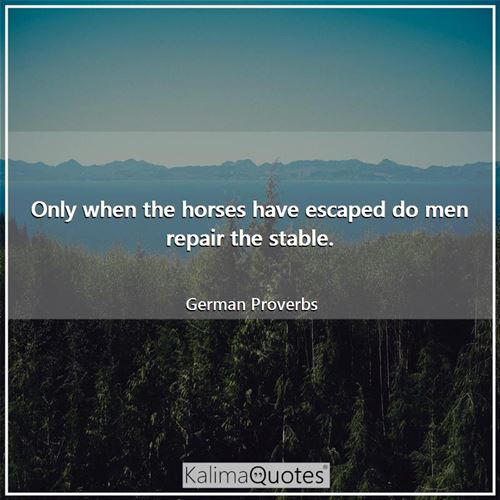 Only when the horses have escaped do men repair the stable.