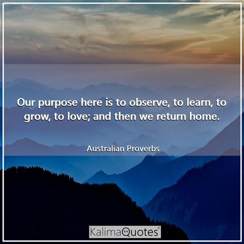 Our purpose here is to observe, to learn, to grow, to love; and then we return home.