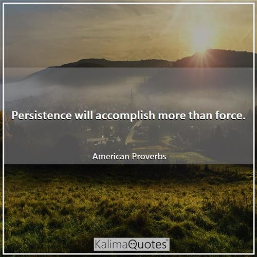 Persistence will accomplish more than force. - American Proverbs