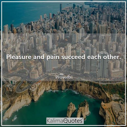Pleasure and pain succeed each other.