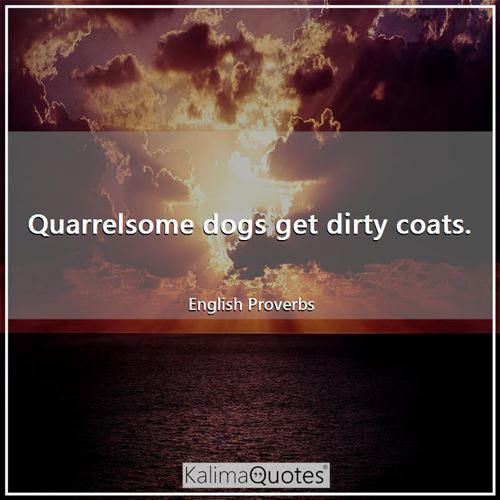 Quarrelsome dogs get dirty coats.