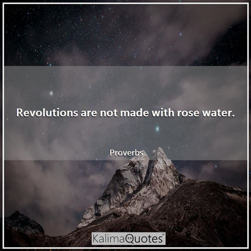 Revolutions are not made with rose water. - Proverbs