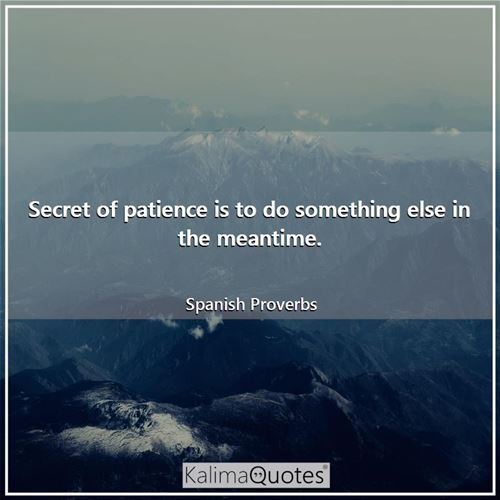 Secret of patience is to do something else in the meantime. - Spanish Proverbs
