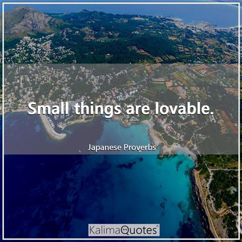 Small things are lovable. - Japanese Proverbs