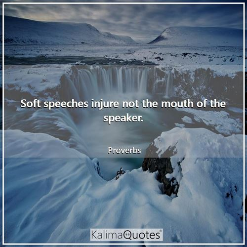 Soft speeches injure not the mouth of the speaker.