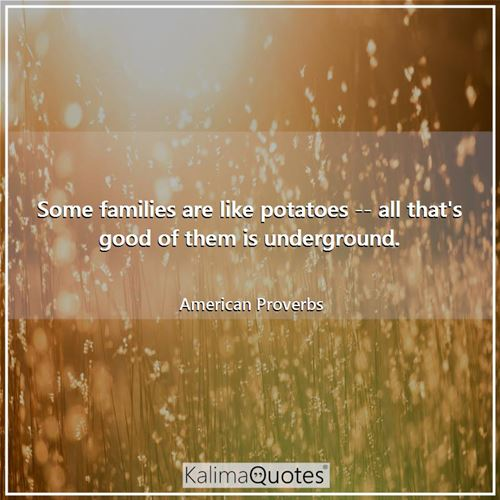 Some families are like potatoes -- all that's good of them is underground. - American Proverbs