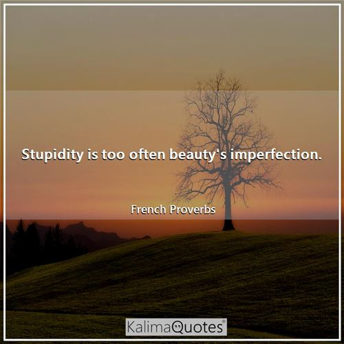Stupidity is too often beauty's imperfection.