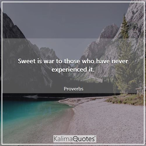 Sweet is war to those who have never experienced it.