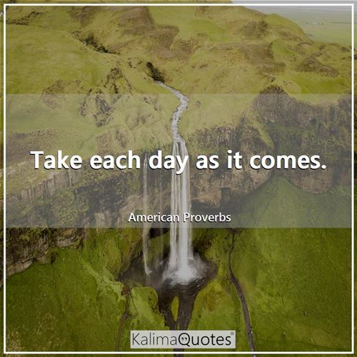 Take each day as it comes. - American Proverbs